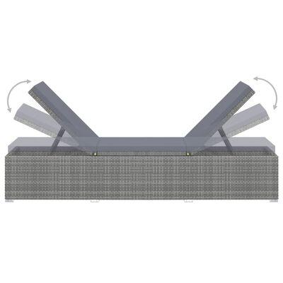 vidaXL Sun Lounger with Cushion Poly Rattan Grey