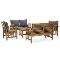 vidaXL 5 Piece Garden Lounge Set with Cushions Solid Acacia Wood (310258+310261+310264)