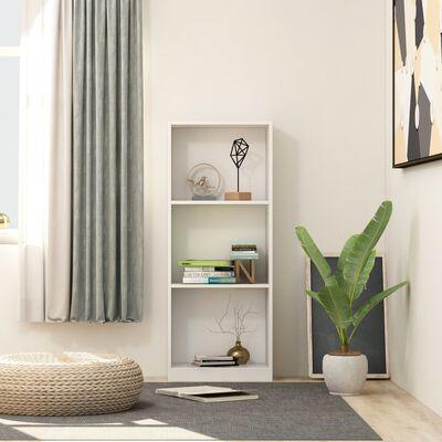 vidaXL 3-Tier Book Cabinet White 40x24x108 cm Chipboard