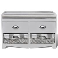 White Storage & Entryway Bench with Cushion Top 2 Drawer 2 Basket