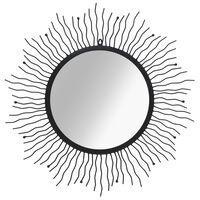 vidaXL Wall Mirror Sunburst 80 cm Black