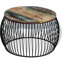vidaXL Coffee Table Round Solid Reclaimed Wood 68x37 cm
