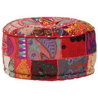 vidaXL Patchwork Pouffe Round Cotton Handmade 40x20 cm Red