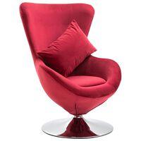 vidaXL Swivel Egg Chair with Cushion Red Velvet