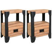 vidaXL Nightstands 2 pcs Solid Acacia Wood Steel 40x30x54 cm