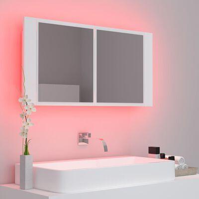 vidaXL LED Bathroom Mirror Cabinet White 90x12x45 cm