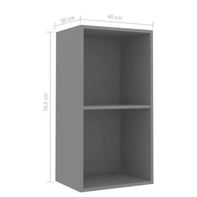 vidaXL 2-Tier Book Cabinet Grey 40x30x76.5 cm Chipboard, Grey