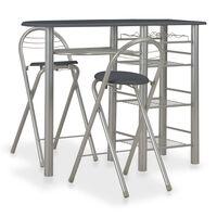 vidaXL 3 Piece Bar Set with Shelves Wood and Steel Black
