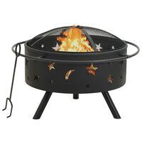 vidaXL Fire Pit with Poker 76 cm XXL Steel