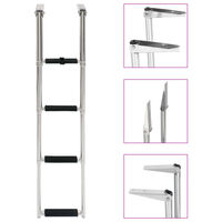 vidaXL Folding Boarding Ladder 4-step Stainless Steel