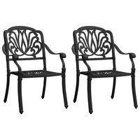 vidaXL Garden Chairs 2 pcs Cast Aluminium Black