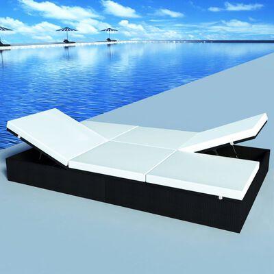 vidaXL Double Sun Lounger with Cushion Poly Rattan Black