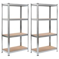 vidaXL Storage Shelves 2 pcs Silver 80x40x160 cm Steel and MDF