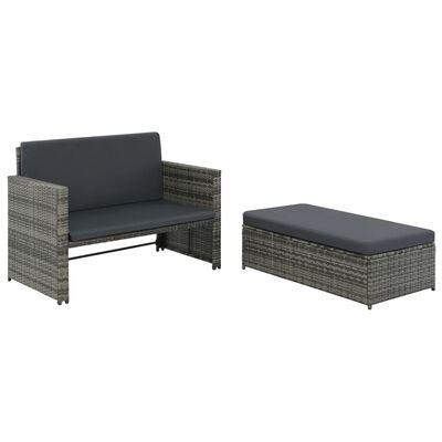 vidaXL 2 Piece Garden Lounge Set with Cushions Poly Rattan Grey