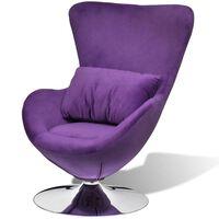 vidaXL Swivel Egg Chair with Cushion Small Purple Velvet