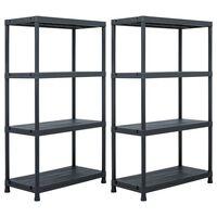 vidaXL Storage Shelf Racks 2 pcs Black 200 kg 80x40x138 cm Plastic