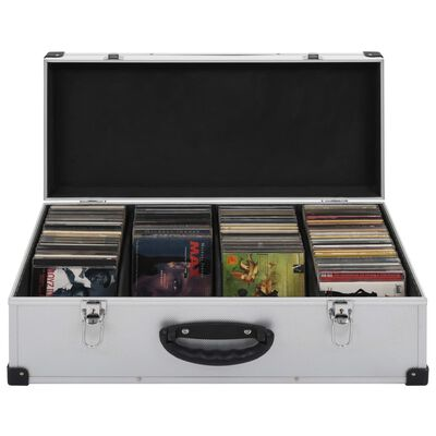 vidaXL CD Case for 80 CDs Aluminium ABS Silver