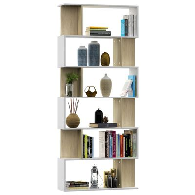 vidaXL Book Cabinet/Room Divider White and Sonoma Oak 80x24x192 cm Chipboard, White_and_sonoma_oak