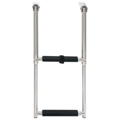 vidaXL Folding Boarding Ladder 2-step Stainless Steel,