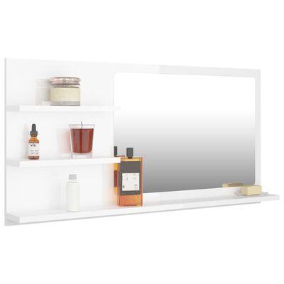 vidaXL Bathroom Mirror High Gloss White 90x10.5x45 cm Chipboard