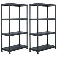 vidaXL Storage Shelf Racks 2 pcs Black 60x30x138 cm Plastic