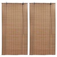 vidaXL Bamboo Roller Blinds 2 pcs 100 x 160 cm Brown