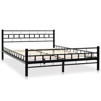 vidaXL Bed Frame Black Metal 137x187 cm