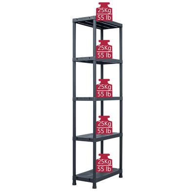 vidaXL Storage Shelf Rack Black 125 kg 60x30x180 cm Plastic,