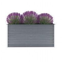 vidaXL Garden Raised Bed Galvanised Steel 160x40x77 cm Grey