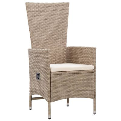 vidaXL Outdoor Chairs 2 pcs with Cushions Poly Rattan Beige