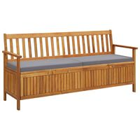 vidaXL Garden Storage Bench with Cushion 170 cm Solid Acacia Wood