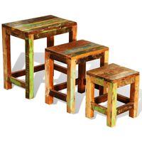 vidaXL Nesting Table Set 3 Pieces Vintage Reclaimed Wood