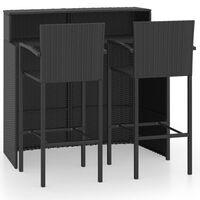 vidaXL 3 Piece Garden Bar Set Black