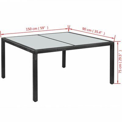 vidaXL Garden Table Black 150x90x75 cm Poly Rattan