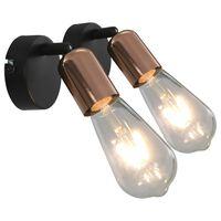 vidaXL Spot Lights 2 pcs with Filament Bulbs 2 W Black and Copper E27