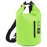 vidaXL Dry Bag with Zipper Green 15 L PVC