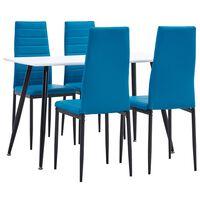 vidaXL 5 Piece Dining Set Faux Leather Sea Blue