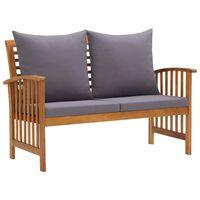 vidaXL Garden Bench with Cushions 119 cm Solid Acacia Wood
