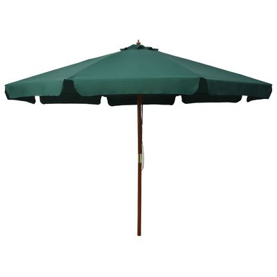 vidaXL Outdoor Parasol with Wooden Pole 330 cm Green