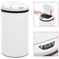vidaXL Automatic Sensor Dustbin 50 L Carbon Steel White