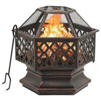 vidaXL Rustic Fire Pit with Poker 62x54x56 cm XXL Steel