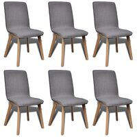 vidaXL Dining Chairs 6 pcs Light Grey Fabric and Solid Oak Wood (241153+241154)