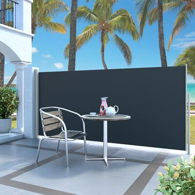 vidaXL Retractable Side Awning 140 x 300 cm Black