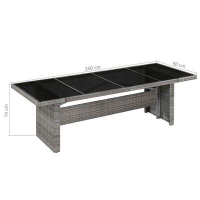vidaXL Garden Table 240x90x74 cm Poly Rattan and Glass