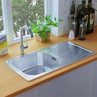 vidaXL Kitchen Sink with Overflow Hole Stainless Steel