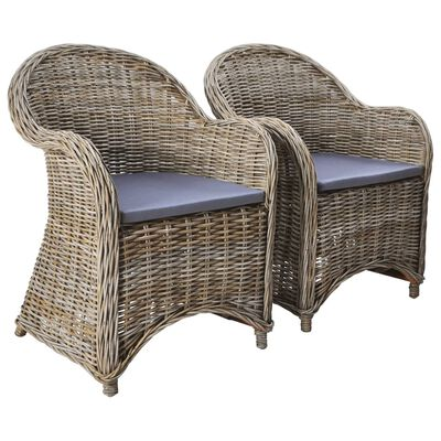 vidaXL Outdoor Chairs 2 pcs with Cushions Natural Rattan