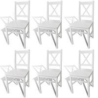 vidaXL Dining Chairs 6 pcs White Pinewood