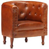 vidaXL Tub Chair Brown Real Leather