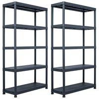 vidaXL Storage Shelf Racks 2 pcs Black 500 kg 100x40x180 cm Plastic