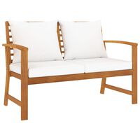 vidaXL Garden Bench 120 cm with Cream Cushion Solid Acacia Wood